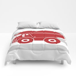 Red Dump Truck on Gray Stripes Comforters