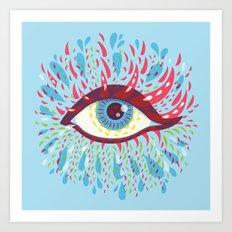 Weird Blue Psychedelic Eye Art Print