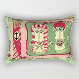 Sea Home of the Hipster Mer-Couple Rectangular Pillow