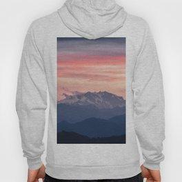 Pink And Blue Pastel Mountains Sky Landscape Sunrise Landscape Hoody