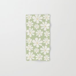 Floral Daisy Pattern - Green Hand & Bath Towel