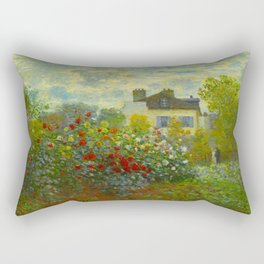 Claude Monet Impressionist Landscape Oil Painting A Corner of the Garden with Dahliass Rectangular Pillow