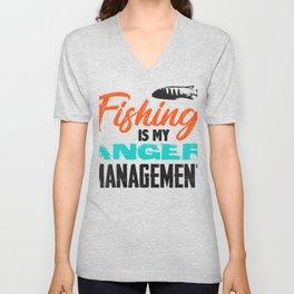 Fishing is my anger management 1 (2) Unisex V-Neck