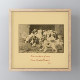 English Setter puppies & Mother's Day quote Framed Mini Art Print