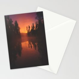 Autumn Morning Mist over Pond Stationery Cards