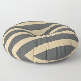Brown Cream Stripes on Gray Background Floor Pillow