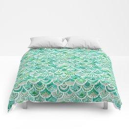 VENUS DE MER Green + Blush Mermaid Scales Comforters