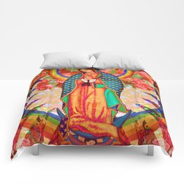 Rainbow Guadalupe Collage Comforters