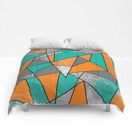 Modern Rustic Orange Teal Gray Silver Geometric Comforters