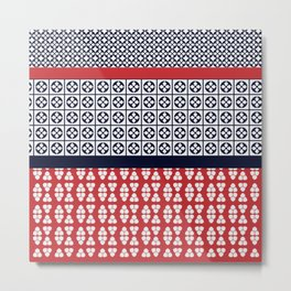Japanese Style Ethnic Quilt Blue and Red Metal Print