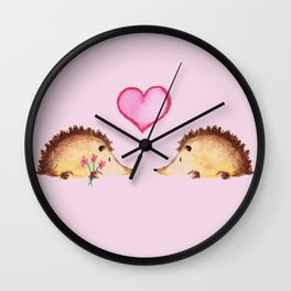Hedgehugs and Kisses Wall Clock