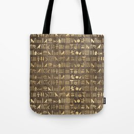 Brown & Gold Ancient Egyptian Hieroglyphic Script Tote Bag