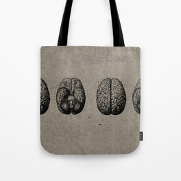 Row o' Brains - Engraving - Vintage - Old Black, White & Brown Tote Bag