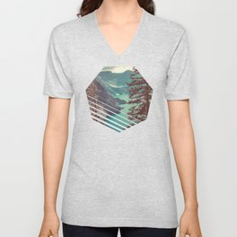 Vintage Blue Crater Lake and Trees - Nature Photography Unisex V-Neck