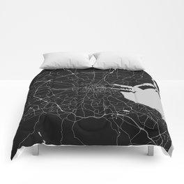 Black on Light Gray Dublin Street Map Comforters