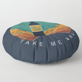 "KOMBUCHA ""Take Me Away"" Rocket // Mushroom Tea Graphic Design Scoby Health Drink Bubble Scooby Floor Pillow"