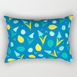 Easter Eggs and Blue Flower Pattern Rectangular Pillow
