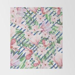 Modern blue white stripes blush pink green watercolor floral Throw Blanket