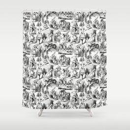 Alice in Wonderland | Toile de Jouy | Black and White Shower Curtain