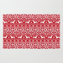 Dachshund doxie fair isle christmas sweater festive red and white holiday dog lover gifts Rug