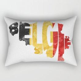 Belgium (België) Typographic World Map / Belgium Typograpy Flag Map Art Rectangular Pillow