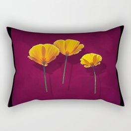 Three Poppies Rectangular Pillow
