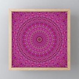 Hot Pink Floral Mandala Framed Mini Art Print
