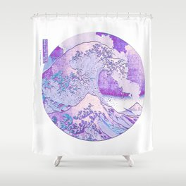 Great Wave Off Kanagawa Volcano Eruption-Purple Shower Curtain