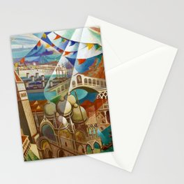 The Carnival of Venice landscape painting by Gerardo Dottori Stationery Cards