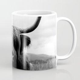 Scottish Highland Cattle Black and White Animal Coffee Mug