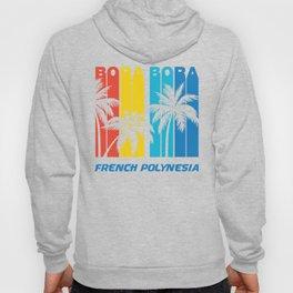 Retro Bora Bora French Polynesia Palm Trees Vacation Hoody