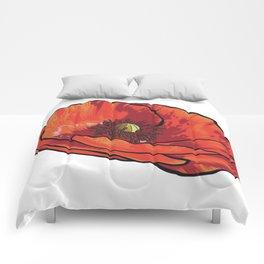 Orange Poppy Flower Comforters