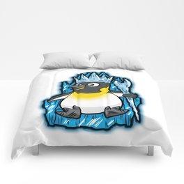 EMPEROR PENGUIN King Ruler Ice Throne Cartoon Gift Comforters