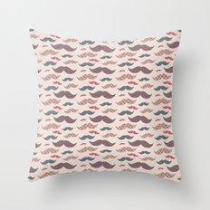 Mustache pattern Throw Pillow