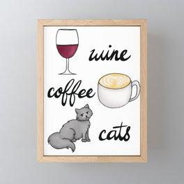 Wine Coffee Cats Framed Mini Art Print