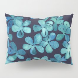 Hand Painted Floral Pattern in Teal & Navy Blue Pillow Sham