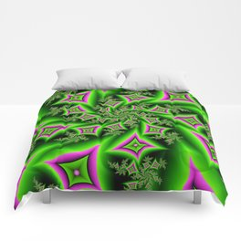 Green And Pink Shapes Fractal Comforters
