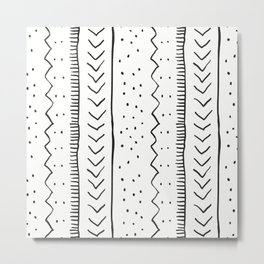 Moroccan Stripe in Cream and Black Metal Print