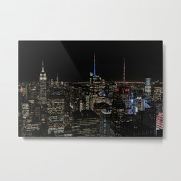 Skyline by night The Top of The Rock | Colourful Travel Photography | New York City, America (USA) Metal Print