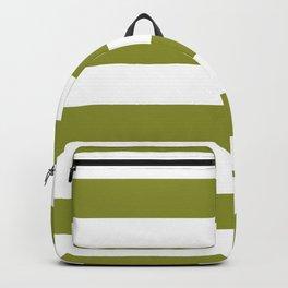 Dark Pastel Green Pepper Stem and White Wide Horizontal Cabana Tent Stripe Backpack