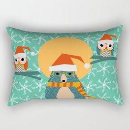 Christmas bear and two little owls Rectangular Pillow