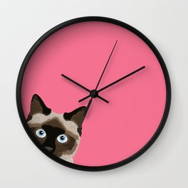 Peeking Siamese Cat - Funny cat meme for cat lovers, cat ladies gifts for cat people Wall Clock
