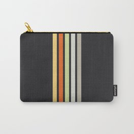 Colorful Retro Stripes Black III Carry-All Pouch