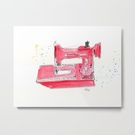 Vintage Featherweight Sewing Machine Metal Print