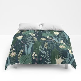 Wonderful Mid-Century Style Evening Lily And Wildflower Pattern Comforters