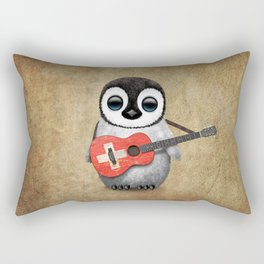 Baby Penguin Playing Swiss Flag Guitar Rectangular Pillow