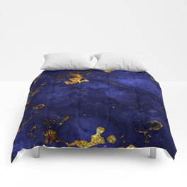 Gold Blue Indigo Malachite Marble Comforters