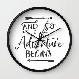 Motivational Hand Lettered QuoteSVG Cuttable Vector - And so the adventure begins - SVG Vector file. Wall Clock