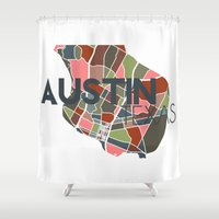 austin Shower Curtains featuring Austin Texas + by Studio Tesouro
