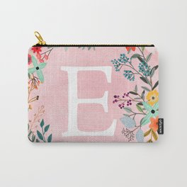 Flower Wreath with Personalized Monogram Initial Letter E on Pink Watercolor Paper Texture Artwork Carry-All Pouch